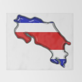 Costa Rica Map with Costa Rican Flag Throw Blanket