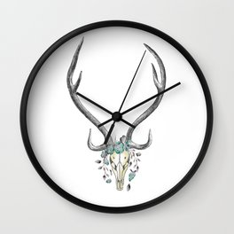 Floral Stag Skull Wall Clock