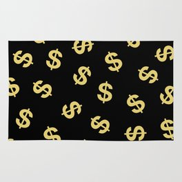 Dollar Signs Black & Gold Rug
