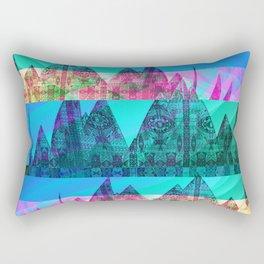 Retro Glitch Mountain Scene Rectangular Pillow