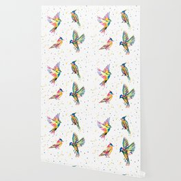Four Colorful Birds Wallpaper