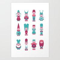 Funny creatures Art Print