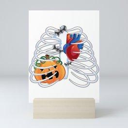Skeleton Ribcage Heart Rib Cage Pumpkin Halloween Mini Art Print