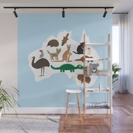 map of Australia. Echidna Platypus Emu Tasmanian devil Cockatoo Wombat crocodile kangaroo dingo Wall Mural
