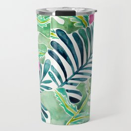Lush Tropical Fronds & Hibiscus Travel Mug
