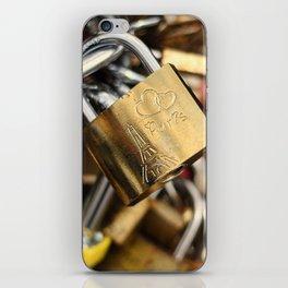 Padlock at Love Bridge in Paris iPhone Skin