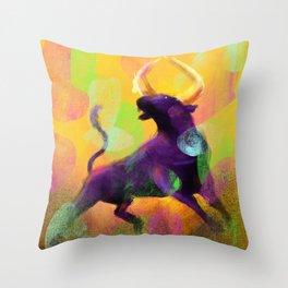 Ragging Bull Throw Pillow