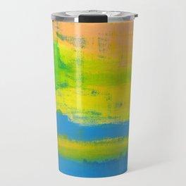 'A Sunny Day' Yellow Coral Blue Abstract Art Travel Mug