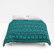 Abstract Pattern Dividers 07 in Turquoise Black Comforters