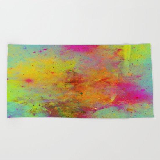 Rainbow Galaxy - Abstract, rainbow coloured space painting Beach Towel