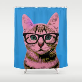 Geek Cat with Glasses Shower Curtain