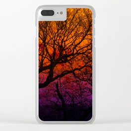 Ever After, Trees Silhouette Sunset Clear iPhone Case