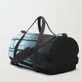 Scary Haunting Halloween Dark Forest Barren Trees Blue Background Duffle Bag