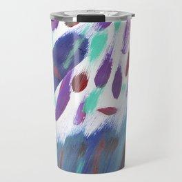 Navy blue teal violet purple  watercolor brushstrokes Travel Mug