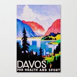 Davos Switzerland - Vintage Travel Canvas Print