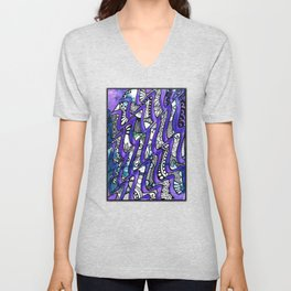 Tangles in the purple waves Unisex V-Neck
