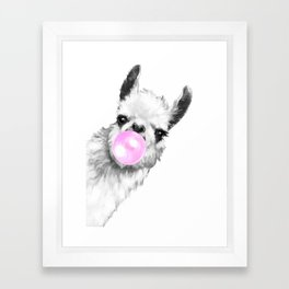 Bubble Gum Sneaky Llama Black and White Framed Art Print