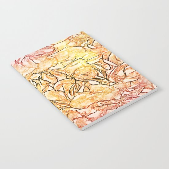 Orange Painterly Floral Abstract Notebook