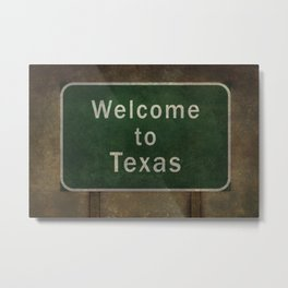 Welcome to Texas roadside sign illustration Metal Print