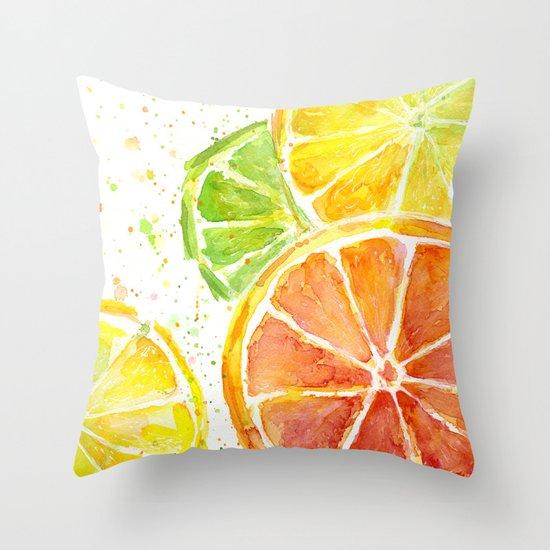 Fruit Watercolor Citrus Throw Pillow