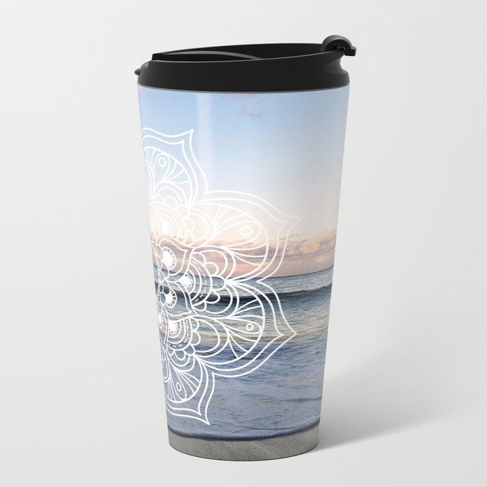 Flower shell mandala - shoreline Metal Travel Mug
