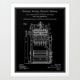 Beer Bottler Patent - Black Art Print