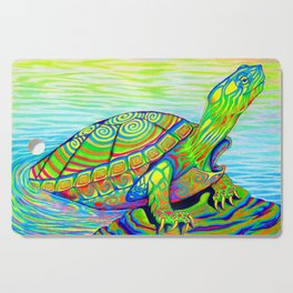 Colorful Psychedelic Neon Painted Turtle Rainbow Turtle Cutting Board