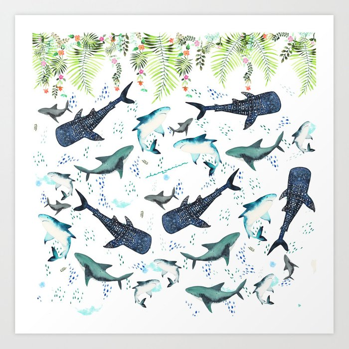 floral shark pattern Kunstdrucke