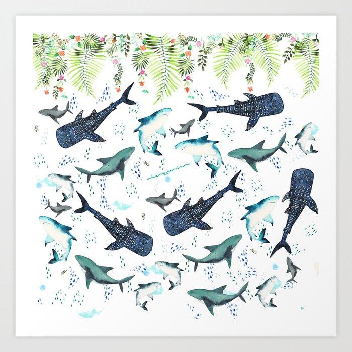 Floral Shark Pattern Art Print By Sharquarium Society60 Adorable Shark Pattern