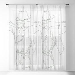 Freeze Dance Strike a Pose Sheer Curtain