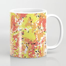 Squashed Yellow Green Frog Abstract Art in a Pool of Red and Orange Stained Glass Effect Coffee Mug