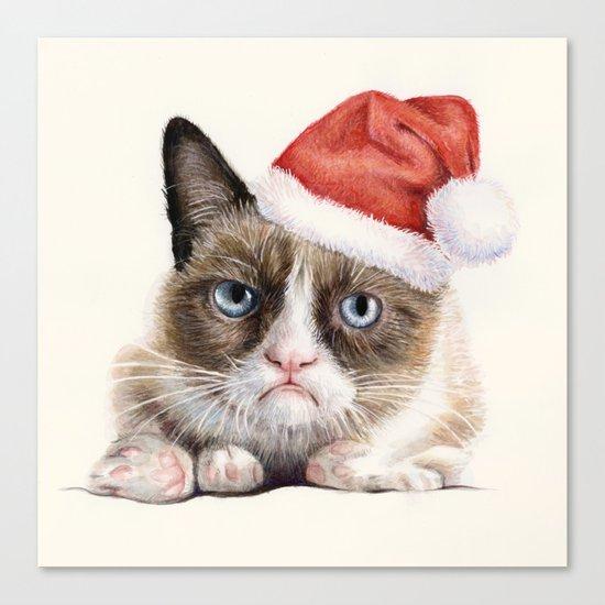 Grumpy Santa Cat Canvas Print