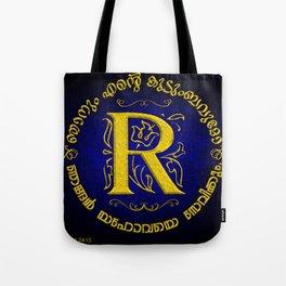 Joshua 24:15 - (Gold on Blue) Monogram R Tote Bag