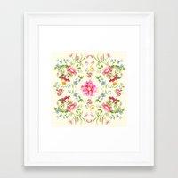 folk Framed Art Prints featuring folk floral by clemm