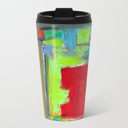 The never ending Maze: Bright Multi Color Abstract Painting Travel Mug