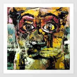 Lion Eyes Abstract Human Animal Illustration Art Print