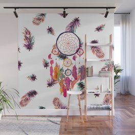 Hipster Watercolor Dreamcatcher Feathers Pattern Wall Mural