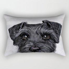 Black Schnauzer Dog illustration original painting print Rectangular Pillow