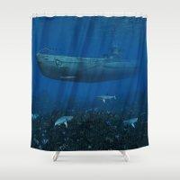 submarine Shower Curtains featuring U99 Submarine by Simone Gatterwe