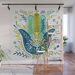 Hamsa Hand – Lime, Turquoise & Navy Palette Wall Mural