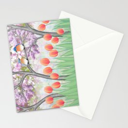 eastern bluebirds, tulips, & lilacs Stationery Cards