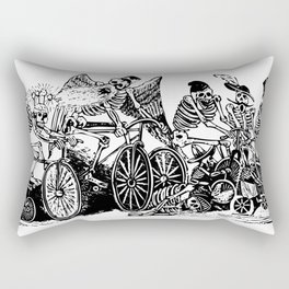 Calavera Cyclists | Day of the Dead | Dia de los Muertos | Skulls and Skeletons | Vintage Skeletons | Black and White |  Rectangular Pillow