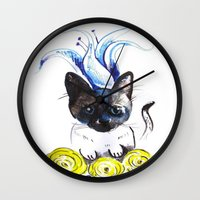 mew Wall Clocks featuring Lily Mew by Sarah