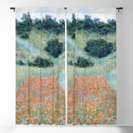 Poppy Field in a Hollow near Giverny by Claude Monet 1885 Blackout Curtain
