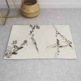 Three Birds Perched on Branches, One with Blossoms by Katsushika Hokusai, published between 1830 and 1850, an  of three birds perched on branches, one with blossoms Rug