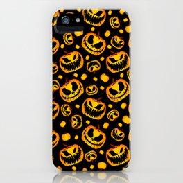 Orange Festive Scary and Spooky Halloween Pumpkins iPhone Case