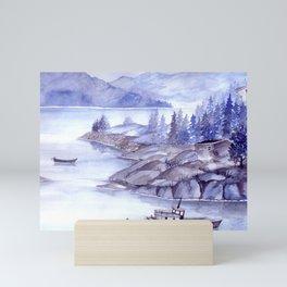 Fjord Monochrome Mini Art Print