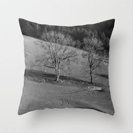 Grazing sheep and trees. Derbyshire, UK. Throw Pillow