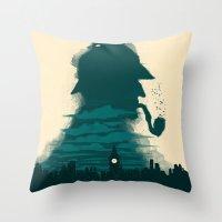 sherlock holmes Throw Pillows featuring Sherlock Holmes by Electra