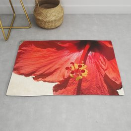 Bright Red Hibiscus Flower Close-Up Rug